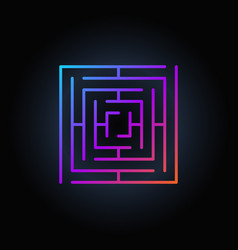 Colorful square labyrinth icon vector