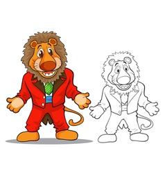 Cute lion cartoon mascot vector image