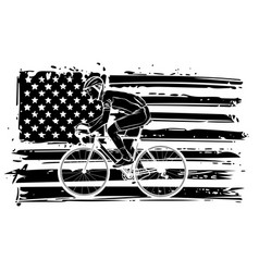 cyclist with american flag vector image