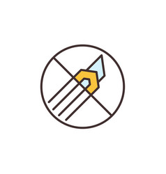 Do not use cutter tool colored icon - forbidden vector