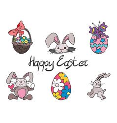 doodle collection of drawings for the easter vector image