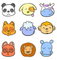 doodle of colorful animal head cute vector image