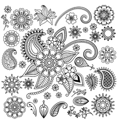 Ethnic Mehndi Flowers Elements vector