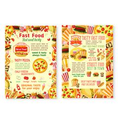 Fast food burgers fastfood menu posters vector