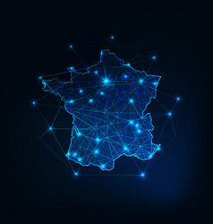 france map outline with stars and lines abstract vector image