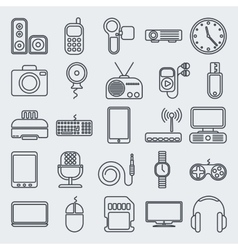 Gadgets line icon set vector