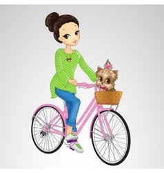 Girl Riding Bicycle With Puppy vector image