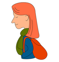 girl with red backpack on white background vector image