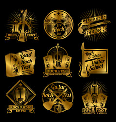 Golden rock and roll music labels on black vector