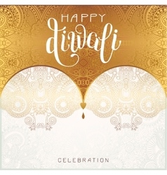 Happy diwali gold greeting card with hand written vector