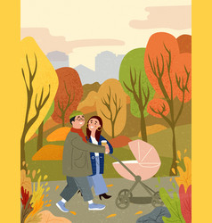 Happy family walking in autumn city park with baby vector