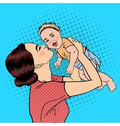 Happy Mother Kissing Her Smiling Baby Boy Pop Art vector