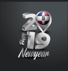 Happy new year 2019 grey typography with vector