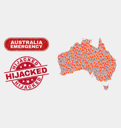 Hazard and emergency collage australia map and vector