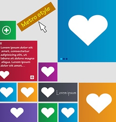 Heart Love icon sign Metro style buttons Modern vector image