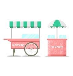 Ice cream colorful cart vector