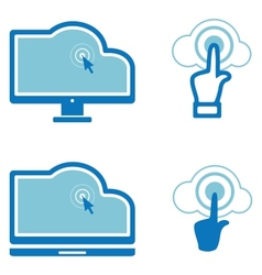 Icons for computer cloud technologies vector