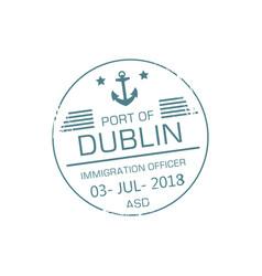 Immigration officer visa stamp dublin port vector