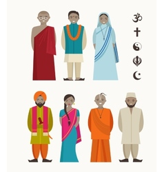 Indian people - different indian religious vector