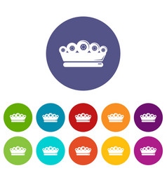 king crown icons set color vector image