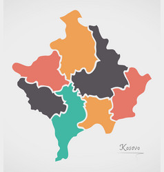 Kosovo map with states and modern round shapes vector