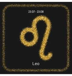Leo Zodiac sign of gold glitter Symbol for vector image