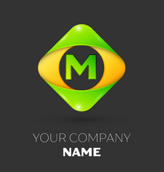 Letter m logo symbol in colorful rhombus vector