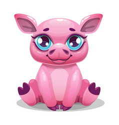 Little cute cartoon sitting pig vector