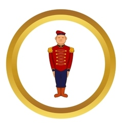 Man wearing army uniform 19th century icon vector