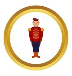 Man wearing army uniform 19th century icon vector