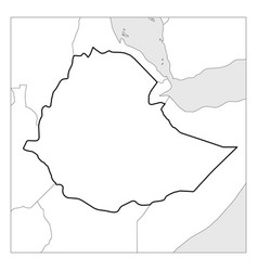 Map ethiopia black thick outline highlighted vector
