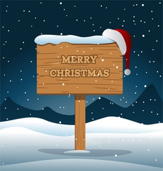 Merry christmas wooden board vector