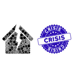 Mosaic housing crisis icon with distress crisis vector