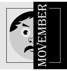 Movember - the head of a man with mustache vector