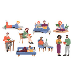 people staying at home and reading books vector image