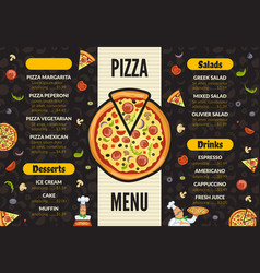 pizzeria menu template italian kitchen cuisine vector image