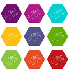 planer on wood icons set 9 vector image