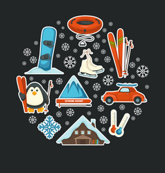 Poster with winter sport equipment and mountain vector