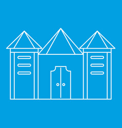 Residential mansion with towers icon vector