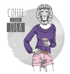 Retro hipster fashion animal lion with coffee vector