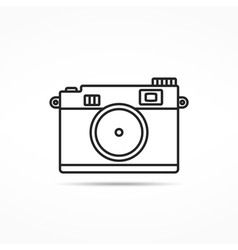 Retro Photo Camera Line Icon vector image