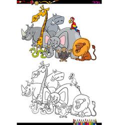 Safari animal characters coloring book vector