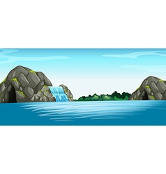 Scene with waterfall and cave vector image