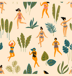 seamless pattern with dancing ladyes vector image