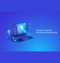 secure online payment transaction with computer vector image