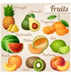 Set food icons fruits pineapple ananas vector
