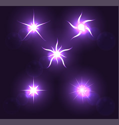 set forms of sparks shining star on a dark vector image