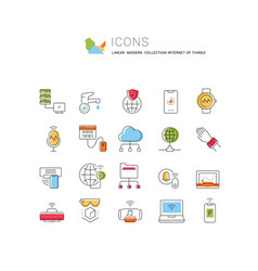 set line icons internet things vector image