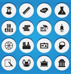 set of 16 editable school icons includes symbols vector image