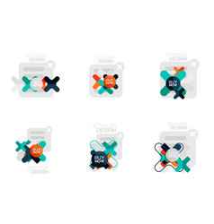 set of flat design geometric stickers and labels vector image